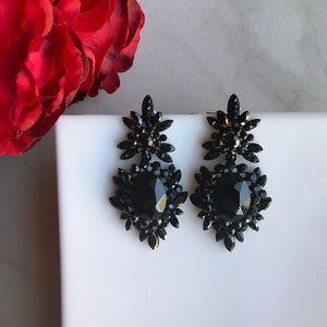 Black Elegance Crystal Rhinestone Stud Earrings